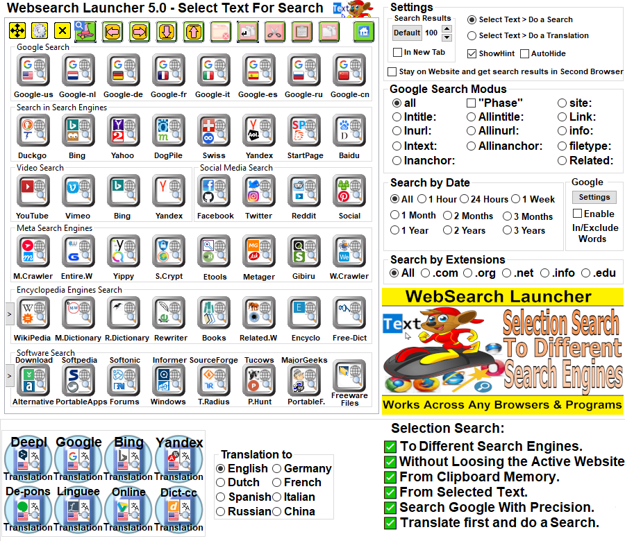 websearch launcher Software